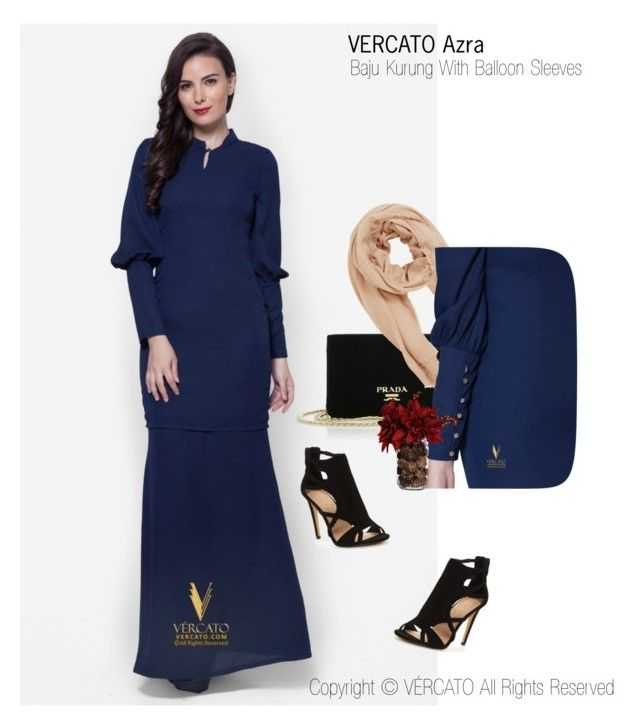 """Baju Kurung Moden Terkini 2016"" by vercato on Polyvore featuring Baju Kurung Moden with Balloon Sleeves - Vercato Azra in Navy Blue. SHOP NOW: www.vercato.com"