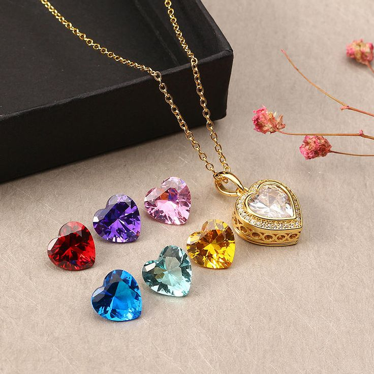 JASSY® Gold Plated Necklace with 7 Different Color Gemstone Open Heart Pendant Fine Women Jewelry at Banggood