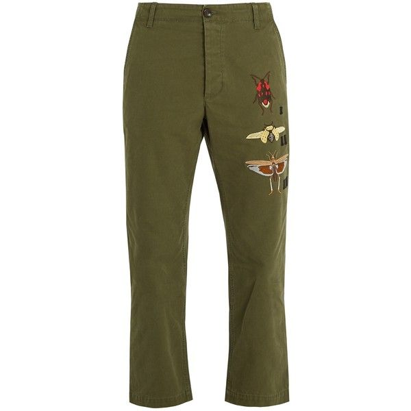 Gucci Insect-embroidered cropped cotton chino trousers (3.340 RON) ❤ liked on Polyvore featuring men's fashion, men's clothing, men's pants, men's casual pants, khaki, mens chino pants, men's relaxed fit khaki pants, mens khaki chino pants, mens embroidered pants and gucci mens pants