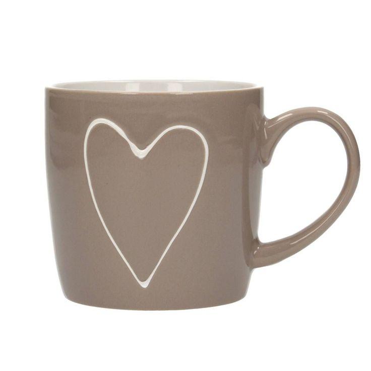 Kubek Heart Beige 250ml, 12x9x8,5cm - Dekoria  #love #milosc #dekoracje #prezenty #gift #celebration #ideas