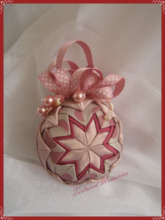 A Spotted Affair  Dusty Pink Quilted ornament by TexturedMemories