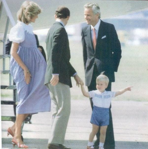 August 20, 1984: Prince Charles and Princess Diana with Prince William arriving at Aberdeen Airport, Scotland.