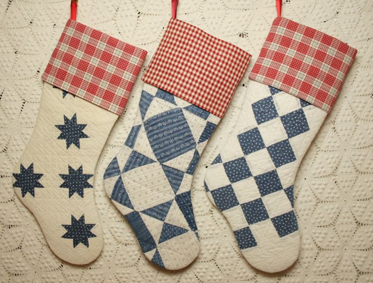 Antique Indigo Quilt Christmas Stockings by ChristmasIsLove.Etsy.com http://www.scoop.it/t/mattress-for-side-sleepers/
