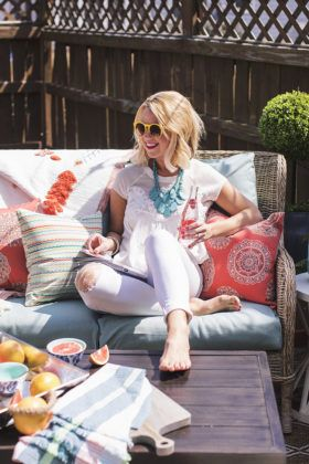Jewel Hazelton shares her small patio ideas now that she's moved to a new condo. This is how to make a small outdoor space feel large and comfy.