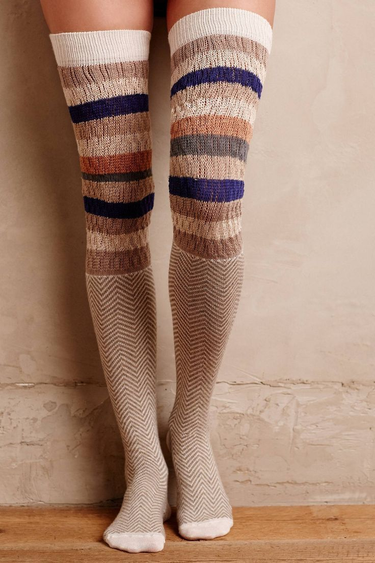 Chevron Stripe Over-The-Knee Socks | Pinned by topista.com