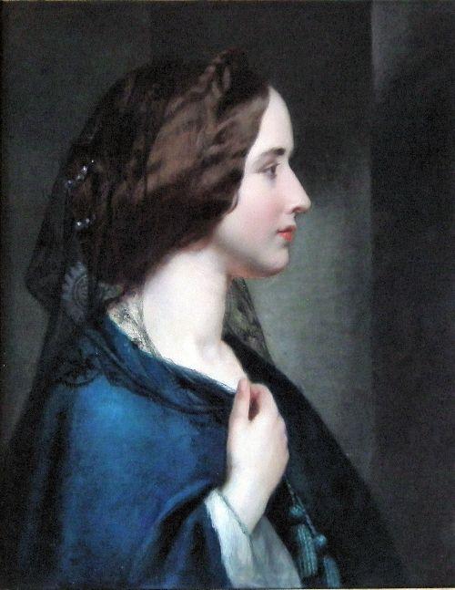 Robert Fox (b.1810) —   Shoulder length portrait of a young woman wearing a black veil and blue dress (674x500)
