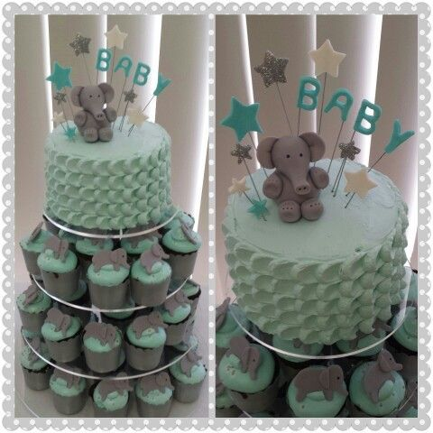 baby boy shower cupcakes with elephants | Elephant Baby Shower Cake & Cupcakes