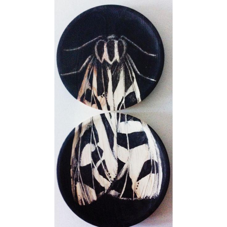 Polilla en Platos de madera 20 cmt # Moth in deco Dishes