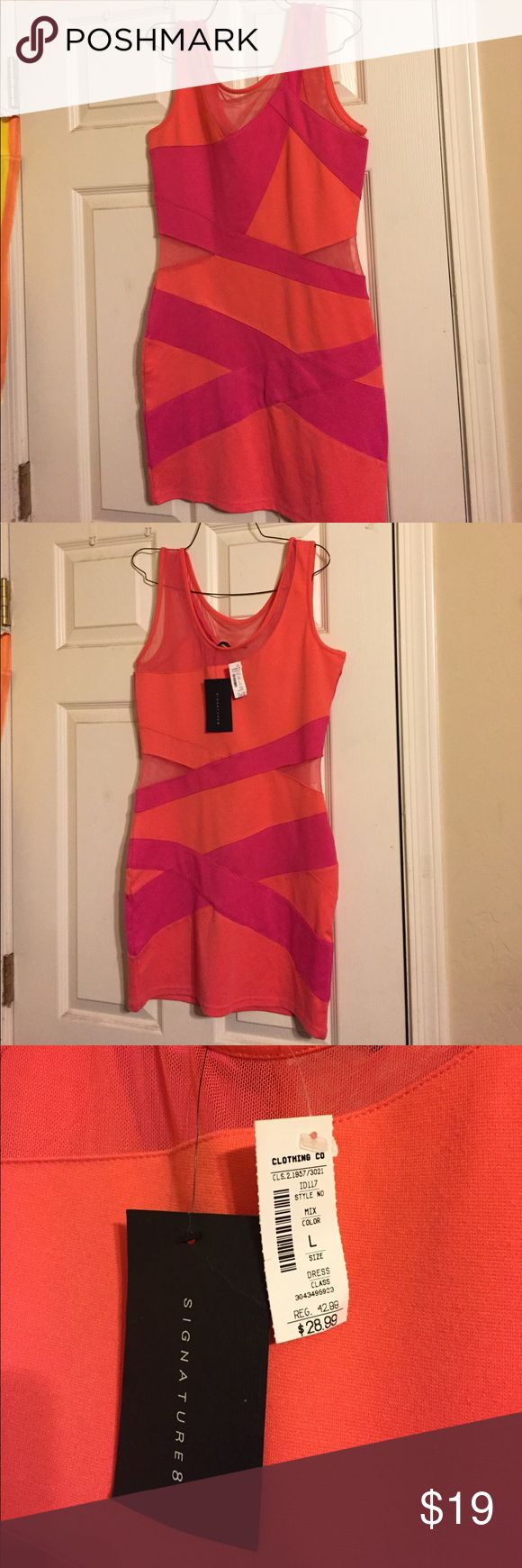 Pink and orange mini dress Pink and orange mini dress with mesh cut outs. New with tags. Dresses Mini