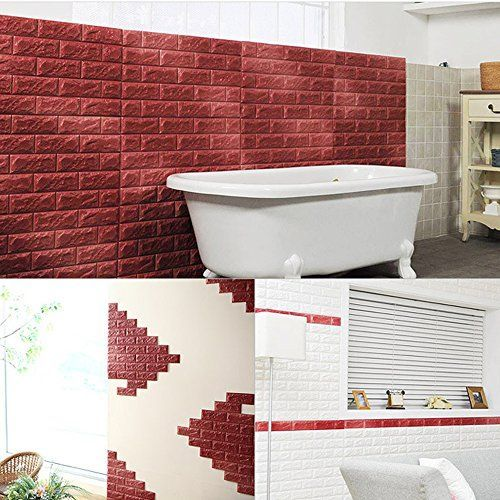 yazi Brick Textured Waterproof Foam 3D Wallpaper for Walls Peel and Stick Mural 26x30 Inch Dark Brown 1pc *** You can get more details by clicking on the image.