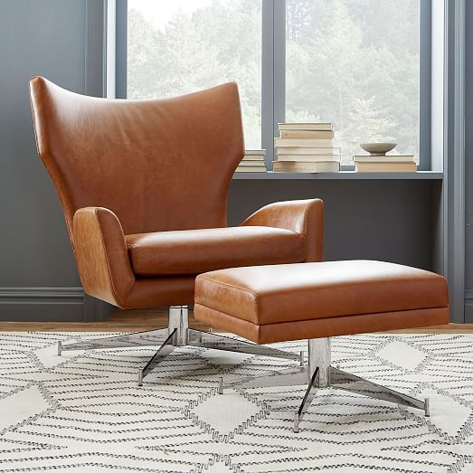 Hemming Leather Swivel Armchair | west elm. Beautiful. I'm worried about comfort and quality. It's only $1000 - for the chair.