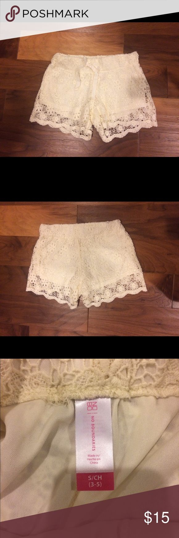 Cream Lace Shorts Size small or 3-5, fits more like size 3. Brand new without tags. No Boundaries Swim Coverups