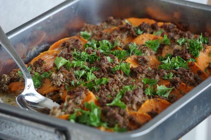 Sötpotatisgratäng med köttfärs