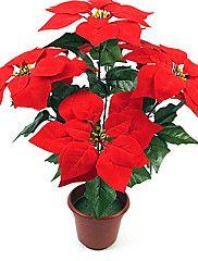 karácsonyi díszek piros karácsonyi virág, műanyag