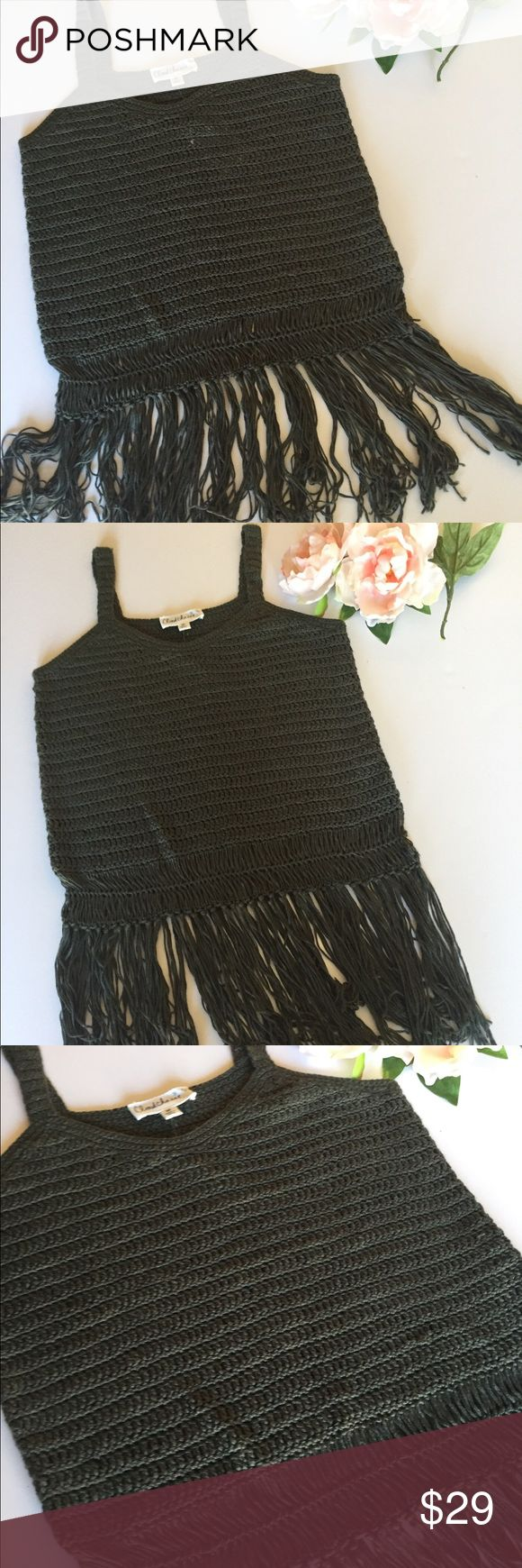 Olive Green Knit fringe tank top Super cute olive green knitted tank with boho fringe detail. New with tags. Bin 3. Tops Tank Tops