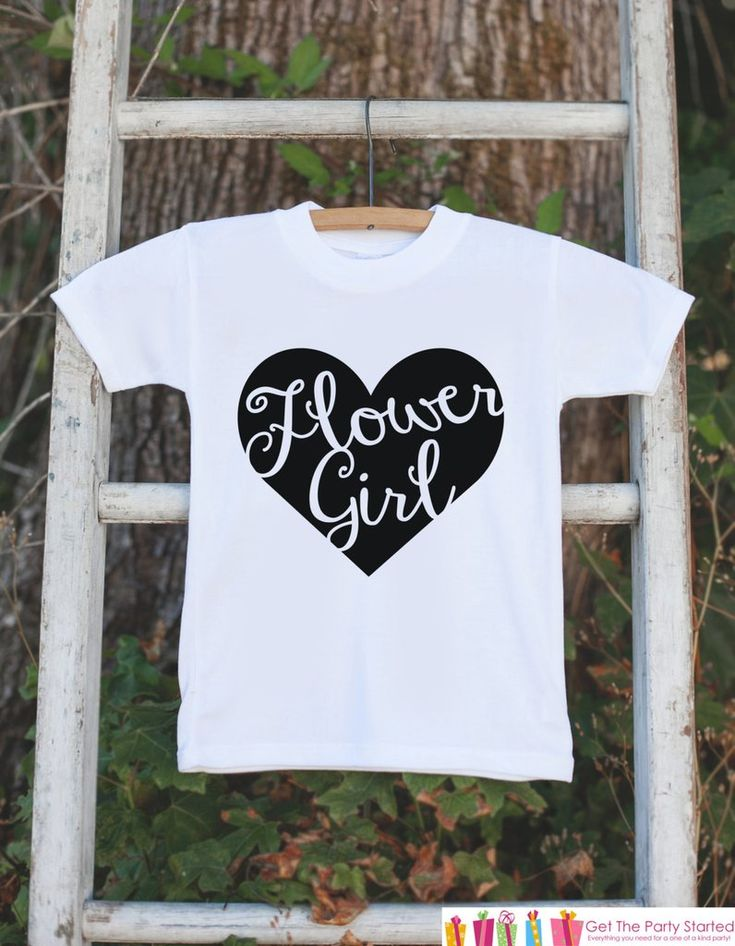 Flower Girl Outfit - Black Heart Flower Girl T-shirt Girls - Will you be my Flowergirl - Wedding Rehearsal Shirt - Flower Girl Gift Idea
