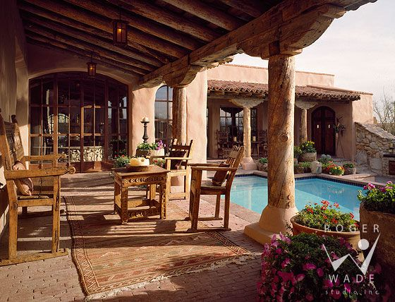 roger wade studio architectural photography of covered patio and pool area, southwestern rustic home, tucson, arizona, by pearson design group   | looks very relaxing