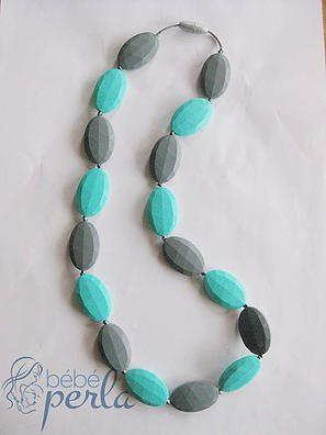 Silicone teething necklace - Majestic Aqua/Grey www.bebeperla.com