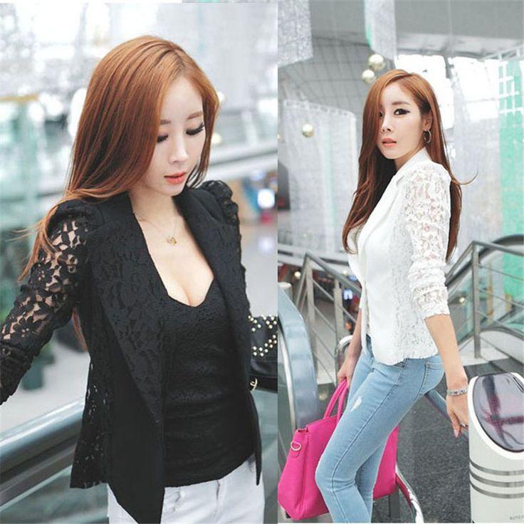 2017ファッション韓国スリムコートオフィス服1ピース女性のセクシーなロングスリーブレースかぎ針編み小さなブレザージャケットfeminino nov 2