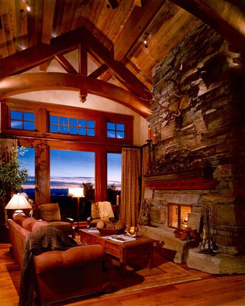 Gorgeous Mountain Home's Great Room with amazing Windows & views - beautiful decor & cozy fireplace, etc.