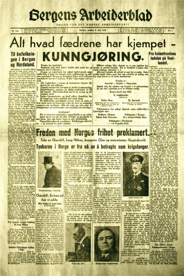 Frigjøringen 9. Mai 1945. Denne førsteside til Bergens Arbeiderblad