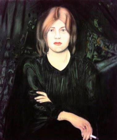 Snapple - The Gaze, 2013, Pastel on velour-paper, 55 x 46 cm. Based on Oskar Zwintscher, Bildnis einer Dame mit Zigarette, 1904, Albertinum Dresden. Courtesy of Egbert Baqué Contemporary Art, Berlin.