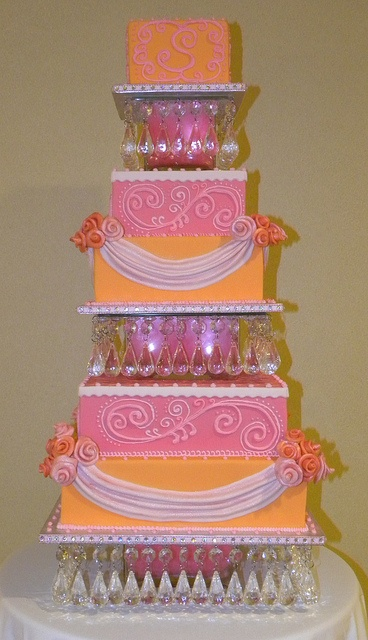 5-tier Orange & Pink Wedding Cake with our crystal chandelier cake stand! by The Sweet Divine, via Flickr