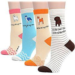 Field4U 4 Pairs Famous Collection Painting Crew Socks - Dog B