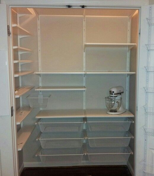 DIY pantry. Inspired by Elfa system...but fraction of the cost.  IKEA Algot shelving for just over $200