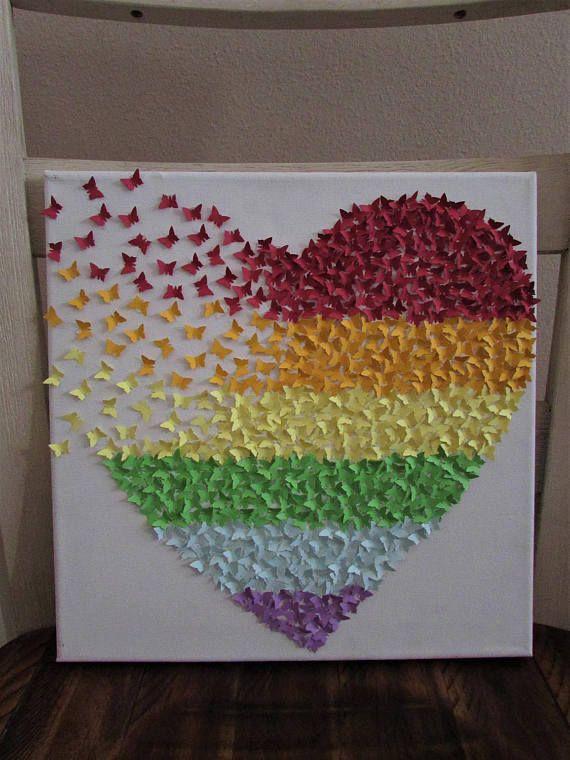 Regenboog hart Butterfly Art 12 x 12