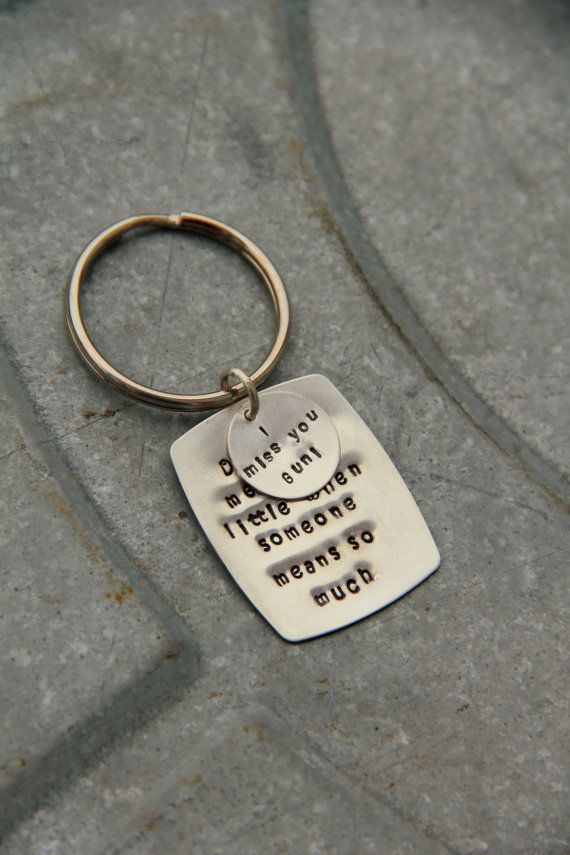 Sterling Silver I miss You Personalized Key Chain Message to Boyfriend Men, I Miss You Gift, Love Quote Message For Spouse Fathers Day Gift