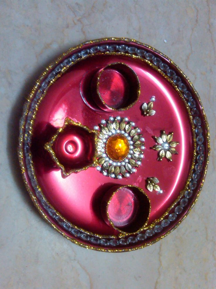 Wood craft ideas to sell thali thali pooja thali puja for Aarti thali decoration images