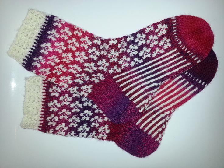 Florisse Sock. Bittamis Design. Crazy Zauberball and Admiral yarns