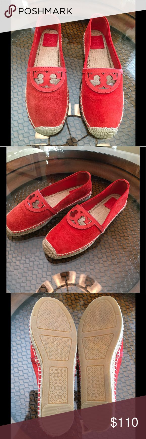 💥Tory Burch Sidney Espadrilles 💥 Tory Burch suede and leather espadrilles Slip on design Suede upper with cut-out leather design Jute footbed with full rubber sole Color: red canyon  NWOB Tory Burch Shoes Espadrilles