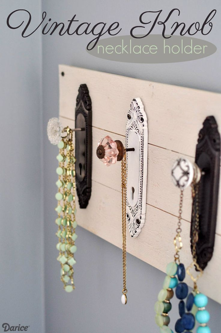 These antique style doorknob plates and knobs make the perfect DIY necklace holder that is not only functional but will also look lovely on the wall.