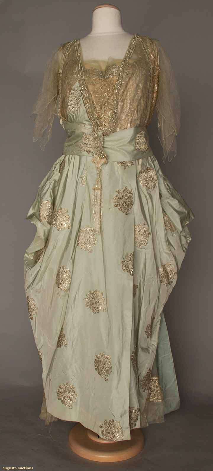 Balcom New York Ball Gown, 1910s Gold lame fabric with pastel blue silk; lame lace bodice with pearls and rhinestones