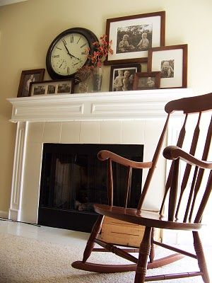 mantle - I am always looking for ways to arrange picture frames I like this look: Mantles Decor, Rocks Chairs, Living Rooms, Decor Ideas, Living Wall, Clock, Pictures Display, Frames Photo, Mantels Ideas