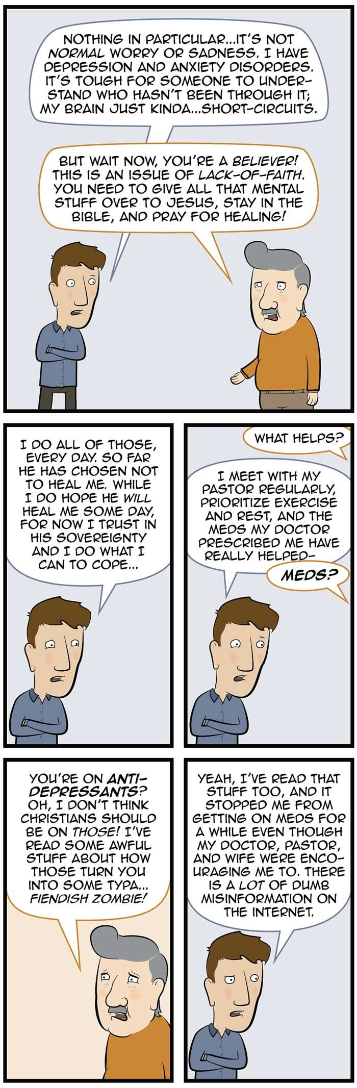 Christians and anti-depressant meds - the whole cartoon is really worthwhile  - can only pin part of it here.