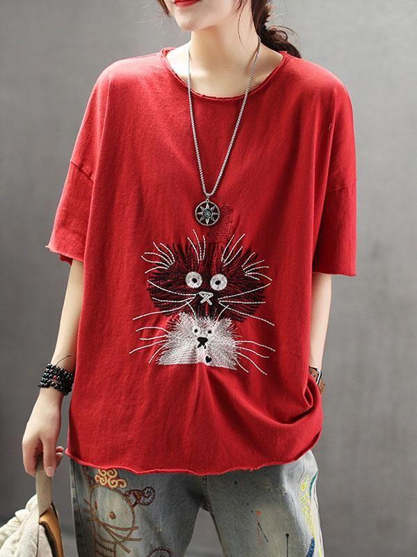 Fashion Women Long Sleeve Art Cat Print Tops Shirt Casual Loose Blouse T Shirt U