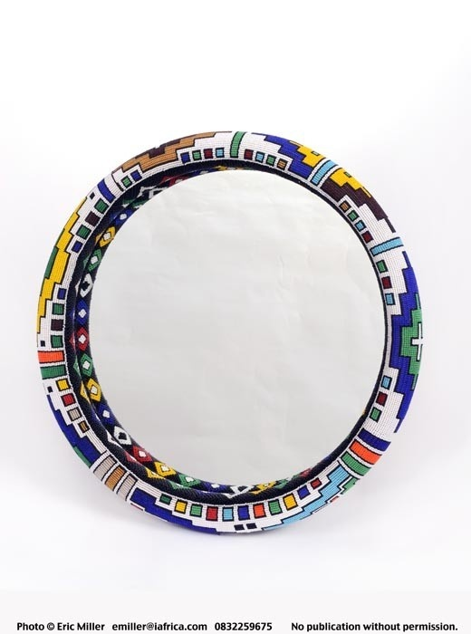 Mirror Frame, large, beaded, Ndebele patterning - Sithabe African Craft