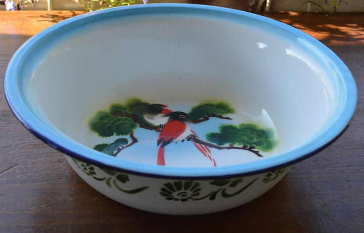 Vintage Enamel Bumper Harvest Chinese  Wash Bowl Basin Red Birds Blue Rim Green Trim and Trees by Retrorrific on Etsy