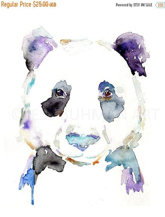 EN venta Panda Acuarela retrato grabado llevan pintura