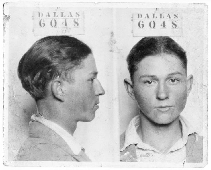 CLYDE (of Bonnie & Clyde) - his mug shot taken in Dallas, Texas, prison (1926). He stood 5'4 while Bonnie stood at 4'11.
