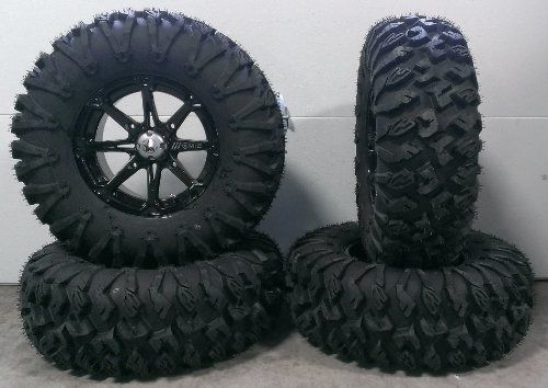 "Bundle - 9 Items: MSA Black Diesel 14"" ATV Wheels 30"" EFX MotoClaw Tires [4x137 Bolt Pattern 10mmx1.25 Lug Kit]"