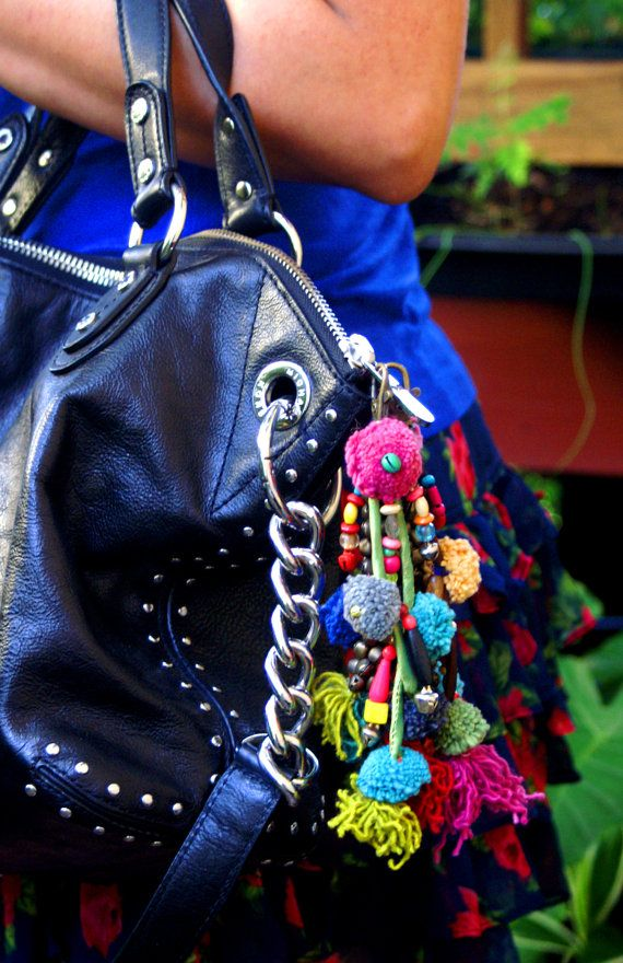 Pom Pom Shaman Bells: Colorful Keychain made from by NatureBeads