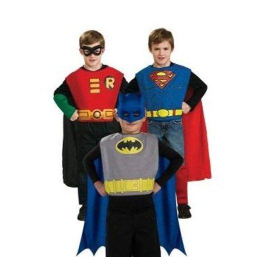 Superhero Trioset Batman, Robin, Superman - Kostuum Kind - Maat 128-140