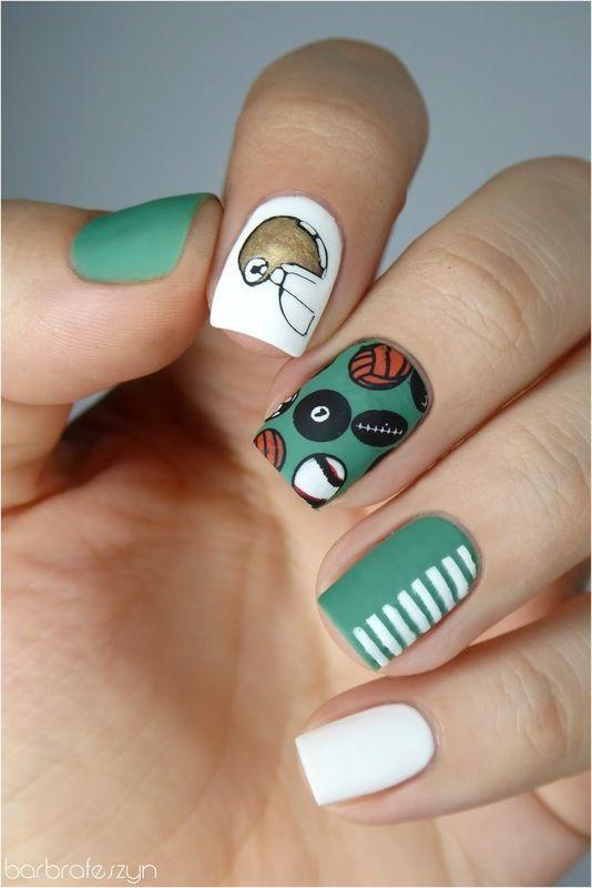 Nailpolis Museum of Nail Art | Football nails to cheer my boyfriend! by barbrafeszyn