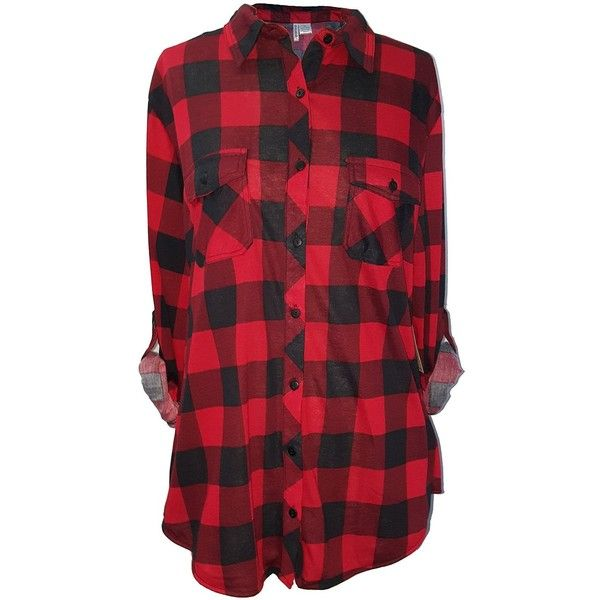 Women's Long Sleeves Plaid Checkered Shirts ($20) ❤ liked on Polyvore featuring tops, red tartan shirt, checked shirt, red checked shirt, tartan shirts and shirt tops