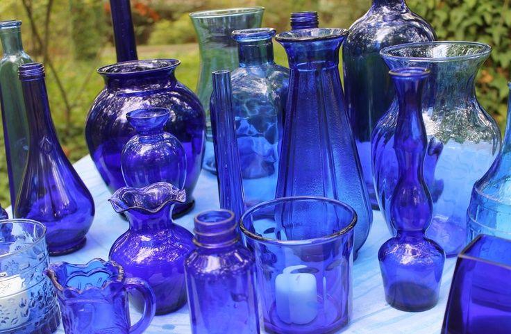cobalt blue vases wedding - Google Search