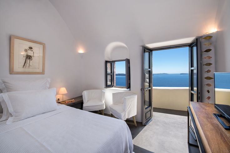 #Aerie-Santorini #view from the top floor #bedroom. The #sea jumps into the room! #gazing the #Caldera #view and the #volcano while resting in our #cocomat #bedmatress. #heaven #pleasure